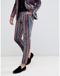 ASOS DESIGN Skinny Suit Trousers In Blue And Burgundy Velvet Stripe