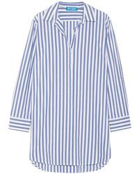 Mih jeans oversized striped cotton shirt blue medium 1342874