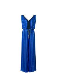 Blue Vertical Striped Jumpsuit