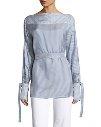 Calvin Klein Keith Bis Striped Boat Neck Blouse