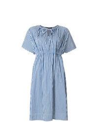 Blue Vertical Striped Midi Dress
