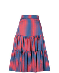 La Doublej Striped Tiered Midi Skirt