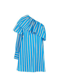 MSGM Asymmetric Ruffle Trim Dress