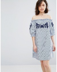 Parisian off shoulder stripe dress with embroidery medium 4418647