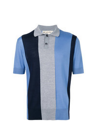 Blue Vertical Striped Polo