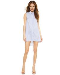 Blue Vertical Striped Shirtdress