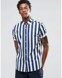 Blue Vertical Striped Short Sleeve Shirt