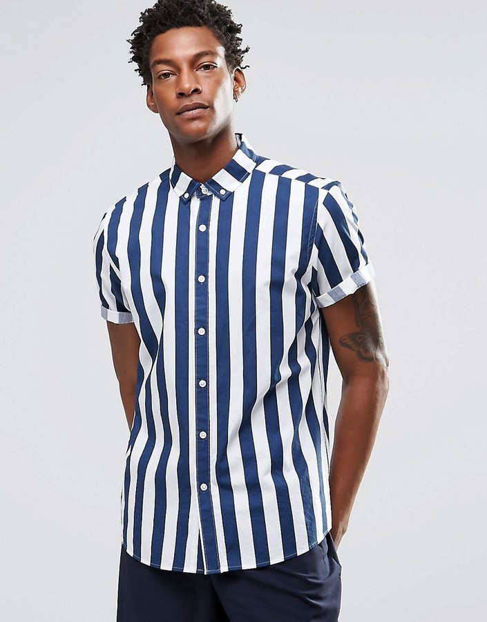 71959246a7d £29, Asos Brand Shirt With Breton Stripe In Navy With Short Sleeves In  Regular Fit