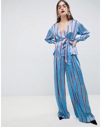 ASOS DESIGN Soft Wide Leg In Coloured Stripe Co Ord