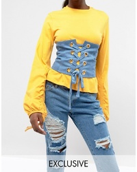 Seint Lace Up Corset In Denim