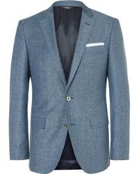 Blue hutsons slim fit slub virgin wool and silk blend blazer medium 1246358