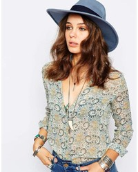 Wide brim fedora hat in pastel blue medium 224772