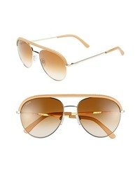 Tod's 55mm Aviator Sunglasses Shiny Pale Gold Brown One Size