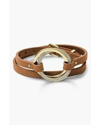 MICHAEL Michael Kors Michl Kors Statet Brilliance Leather Wrap Bracelet