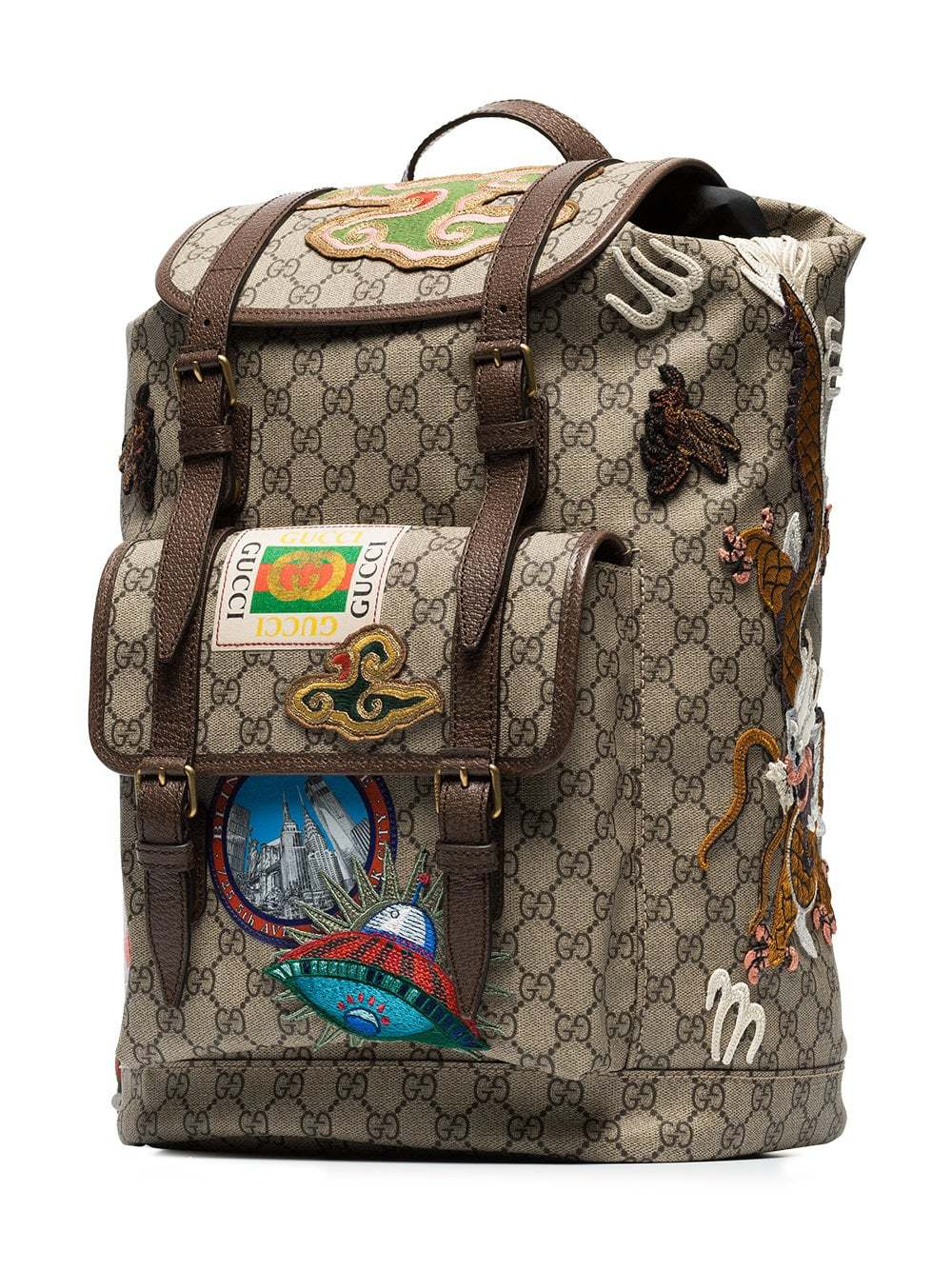 adca461f1835 Gucci Beige And Brown Gg Multi Patch Backpack, £1,753 | farfetch.com ...