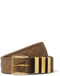 Balmain 35cm Brown Canvas And Leather Belt