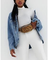 New Look Zip Detail Bum Bag In Zebra