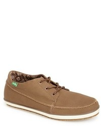 Brown Canvas Low Top Sneakers