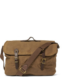 Abingdon waxed cotton canvas and leather messenger bag medium 144244