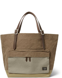 Porter yoshida co leather trimmed canvas tote bag medium 142612
