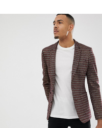 ASOS DESIGN Tall Skinny Blazer In Grey Red And Gold Sparkle Check