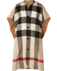 Burberry Reversible Checked Wool Blend Cape