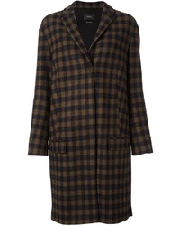 Odeeh Checked Knee Length Coat