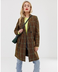 Stradivarius Long Line Coat In Brown Check