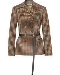 Chloé Belted Double Breasted Checked Woven Blazer