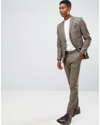 Selected Homme Slim Fit Suit Trouser In Brown Check