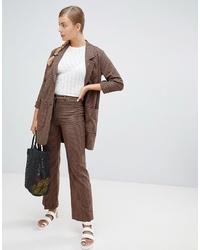 Monki Wide Leg Trousers In Brown Check Print