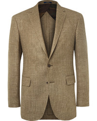 Polo Ralph Lauren Brown Slim Fit Checked Silk Linen And Wool Blend Blazer