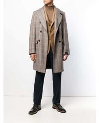 Lardini Checked Double Breasted Coat