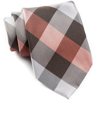 Brown Check Silk Tie