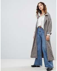 Free People Melody Oversized Check Trench Coat
