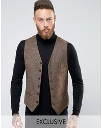 Heart Dagger Heart And Dagger Woven In England Skinny Db Vest In Houndstooth