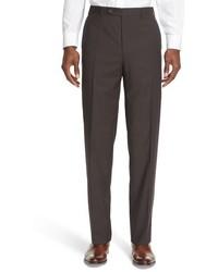 Brown Check Wool Dress Pants