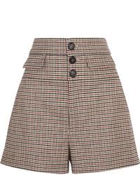 Brown Check Wool Shorts