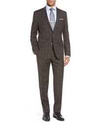 Hutsongander trim fit windowpane wool suit medium 739583
