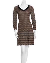 Brown Chevron Sweater Dress