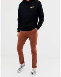 ASOS DESIGN Slim Heavyweight Chinos In Washed Brown With Turn Up