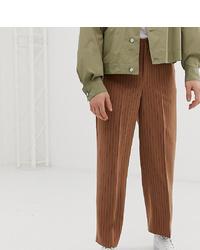 Noak Wide Leg Pleated Smart Trousers In Pinstripe