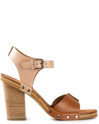 Brown Chunky Leather Heeled Sandals