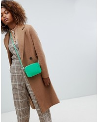 Bershka Long Line Double Button Car Coat In Camel