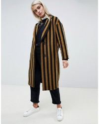 Moss Copenhagen Tailored Coat In Contrast Stripe