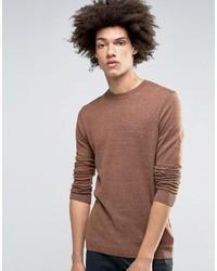 Asos Crew Neck Sweater In Brown Cotton