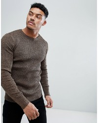 ASOS DESIGN Muscle Fit Ribbed Jumper In Tan Twist