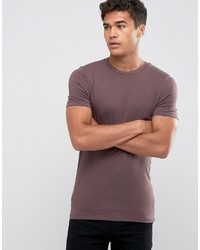 Extreme muscle fit t shirt with crew neck and stretch in brown medium 4419364