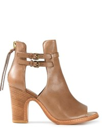 Brown Cutout Leather Ankle Boots