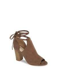 Brown Cutout Suede Ankle Boots